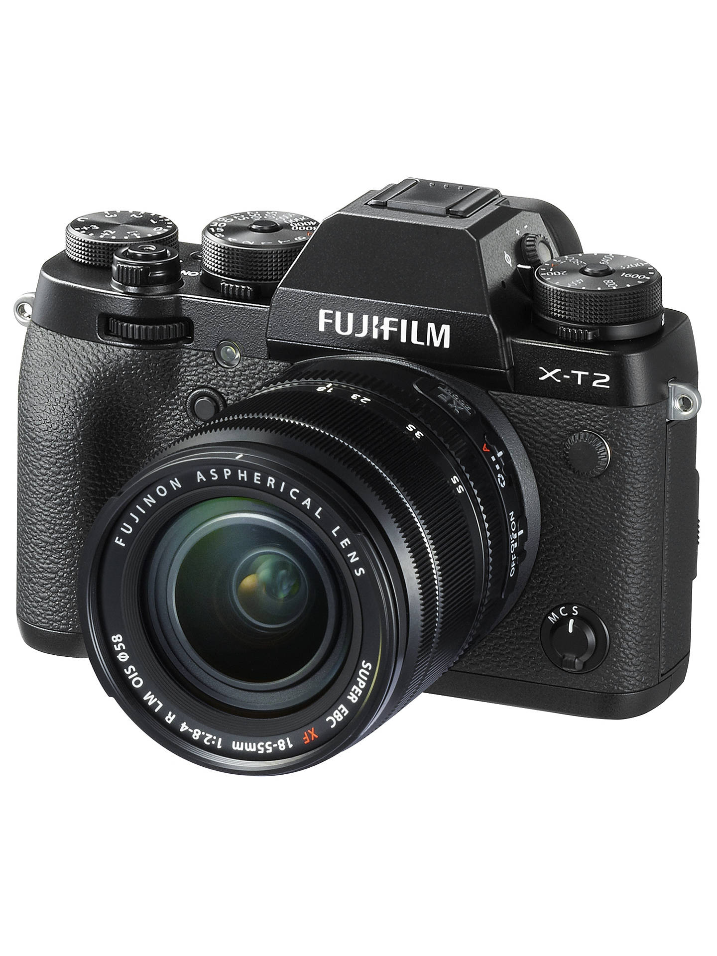 "BuyFujifilm X-T2 Compact System Camera with XF 18-55mm IS Lens, 4K Ultra HD, 24.3MP, Wi-Fi, OLED EVF, 3"" Tiltable LCD Screen Online at johnlewis.com"