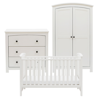 Silver Cross Ashby Style Dresser, Cotbed and Wardrobe Set, White