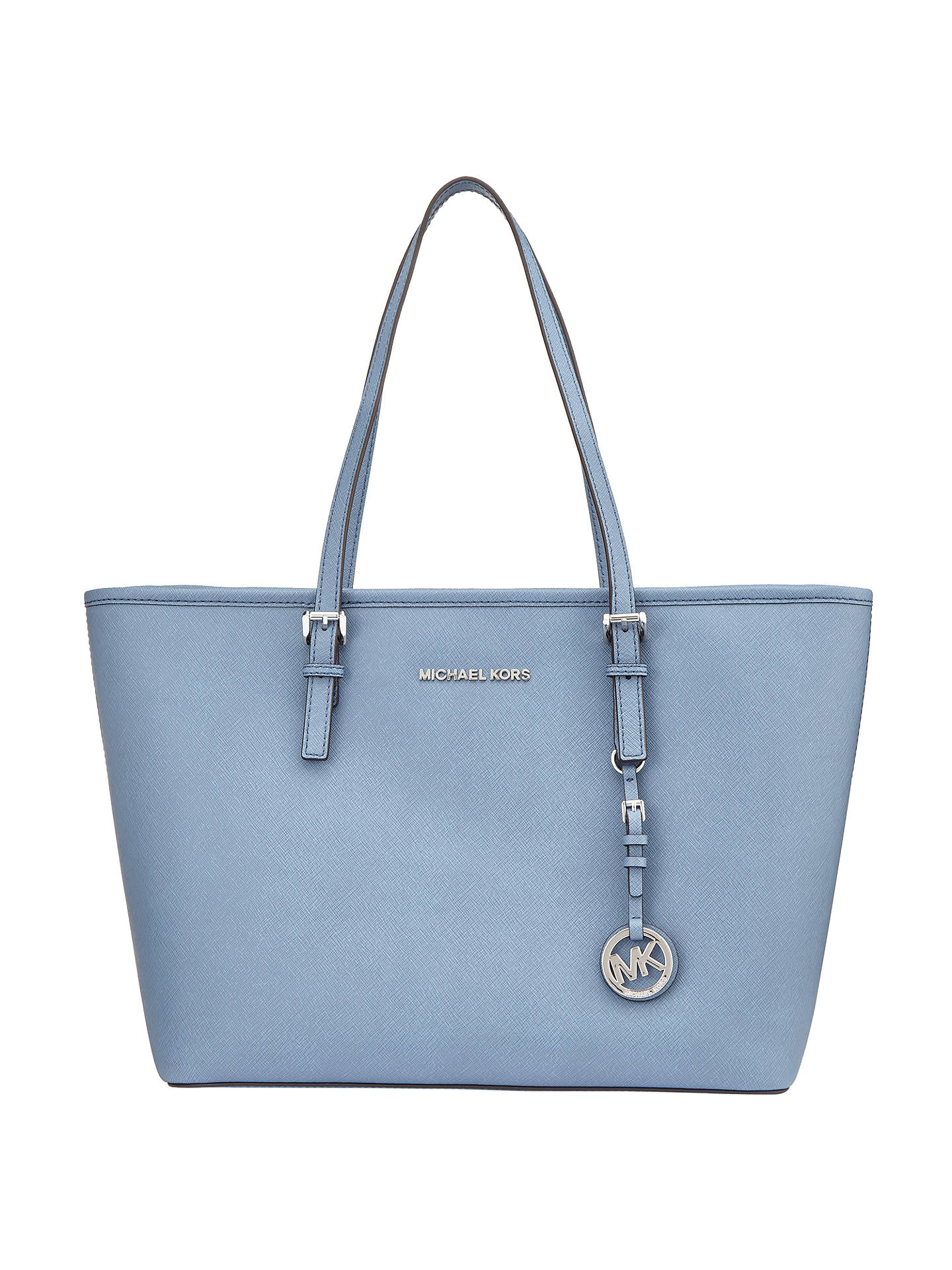 d5efae83fb584c Buy MICHAEL Michael Kors Jet Set Travel Top Zip Leather Tote Bag, Denim  Online at ...