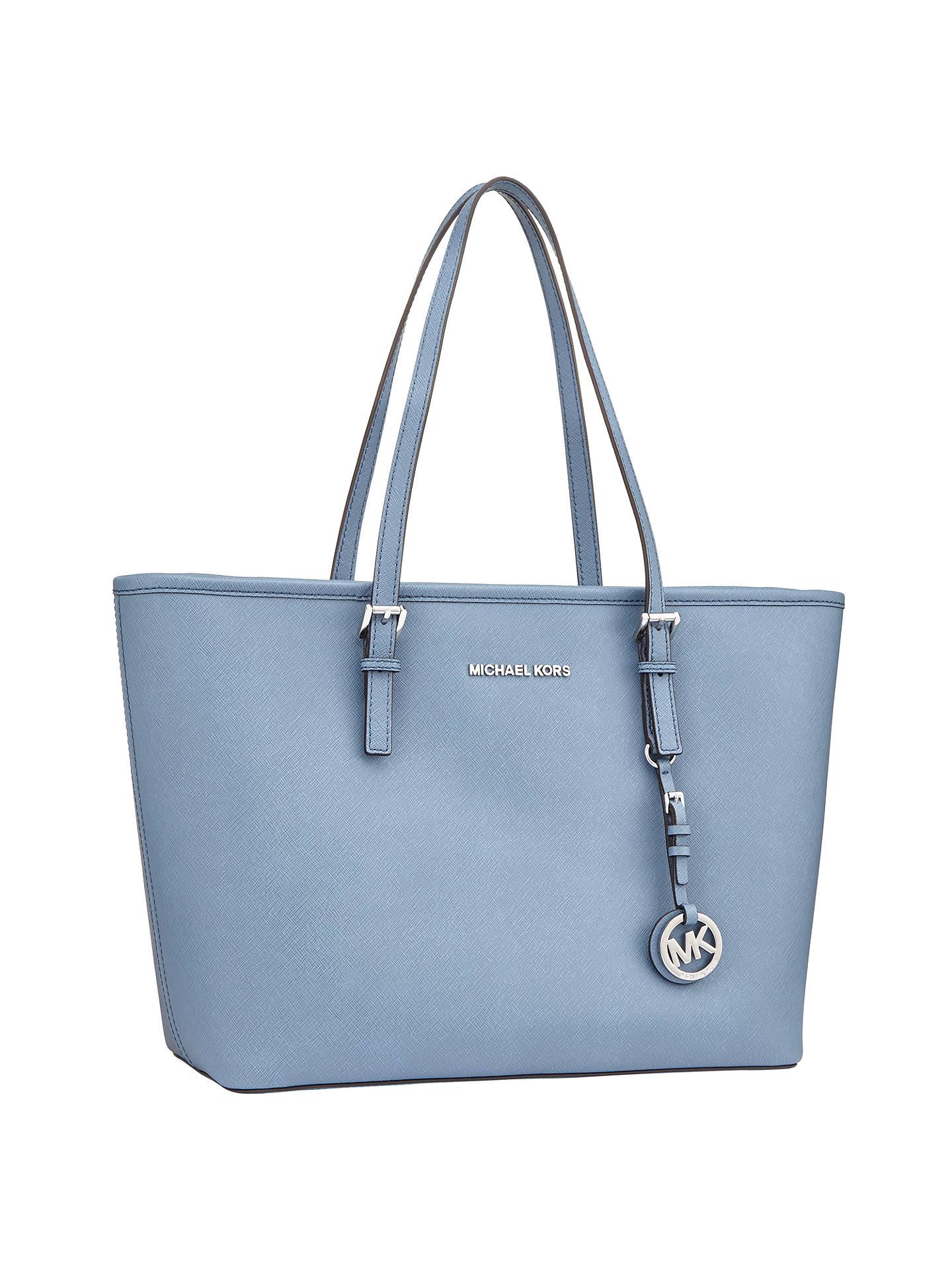 0802953efbea3b ... Buy MICHAEL Michael Kors Jet Set Travel Top Zip Leather Tote Bag, Denim  Online at