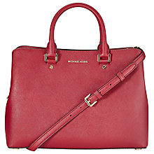 Buy MICHAEL Michael Kors Savannah Large Leather Satchel, Cherry Online at johnlewis.com