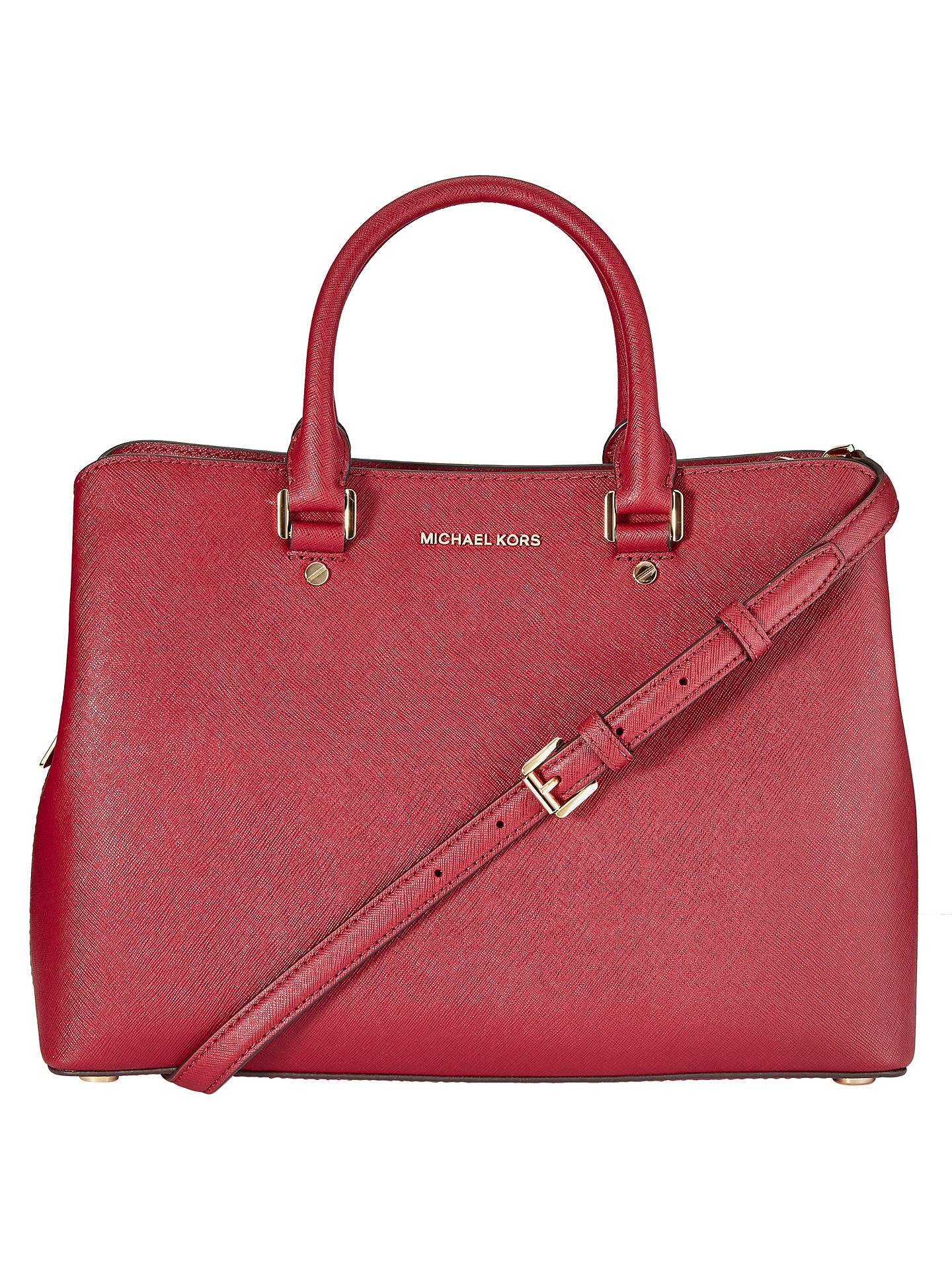 8e0f303d4c81 Buy MICHAEL Michael Kors Savannah Large Leather Satchel, Cherry Online at  johnlewis.com ...