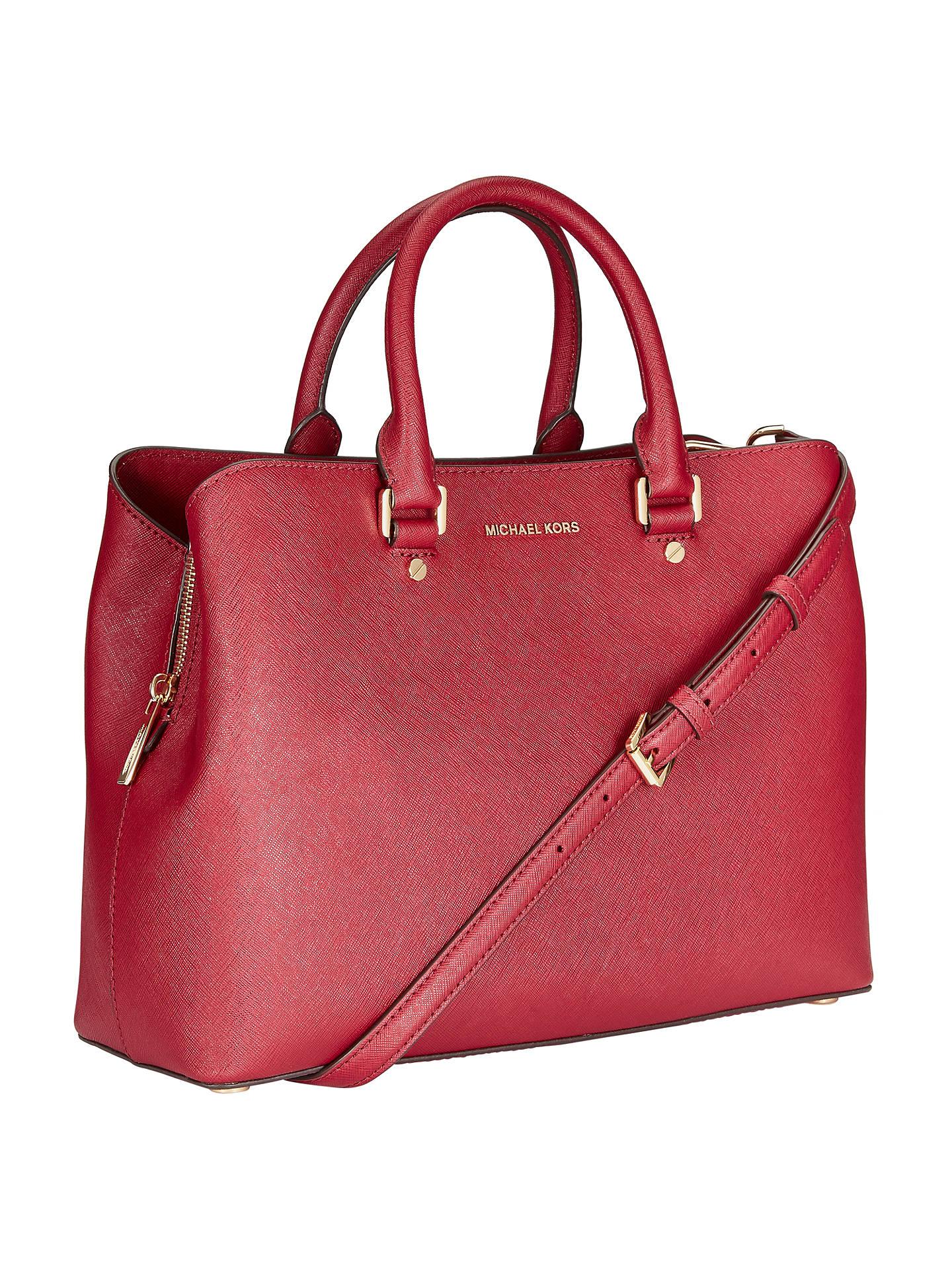 de1c73fa2d70 ... Buy MICHAEL Michael Kors Savannah Large Leather Satchel, Cherry Online  at johnlewis.com ...