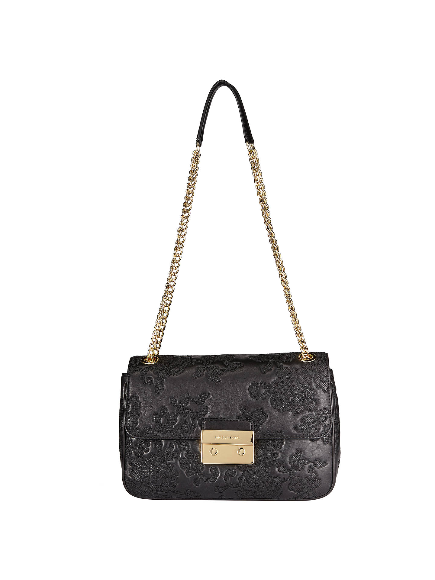 024b7a62acbb Buy MICHAEL Michael Kors Lace Sloan Small Leather Chain Shoulder Bag, Black  Online at johnlewis ...