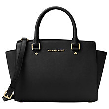 Buy MICHAEL Michael Kors Selma Leather Top Zip Satchel Bag, Black Online at johnlewis.com