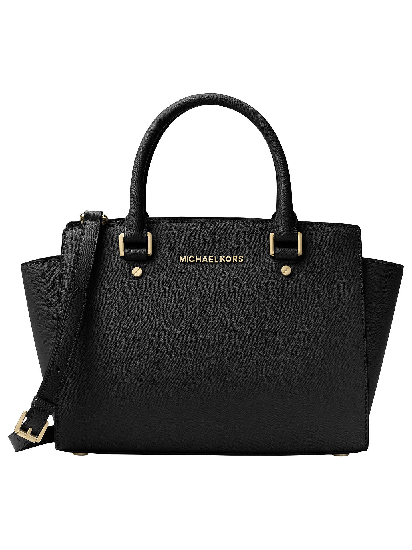 425e1874328d Buy MICHAEL Michael Kors Selma Leather Top Zip Satchel Bag, Black Online at  johnlewis.