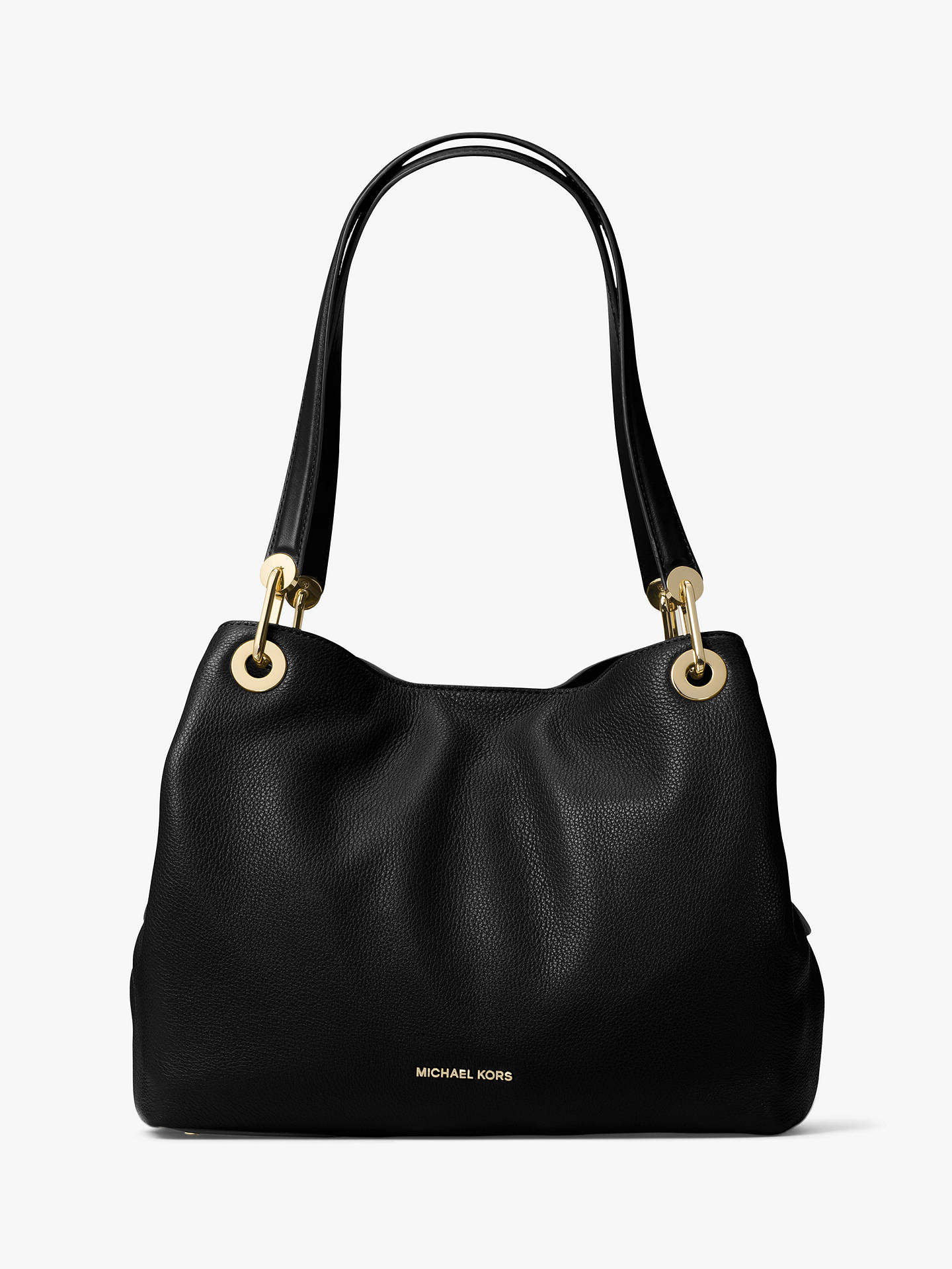 6125d0a2a249f5 Buy MICHAEL Michael Kors Raven Large Leather Shoulder Bag, Black Online at  johnlewis.com ...