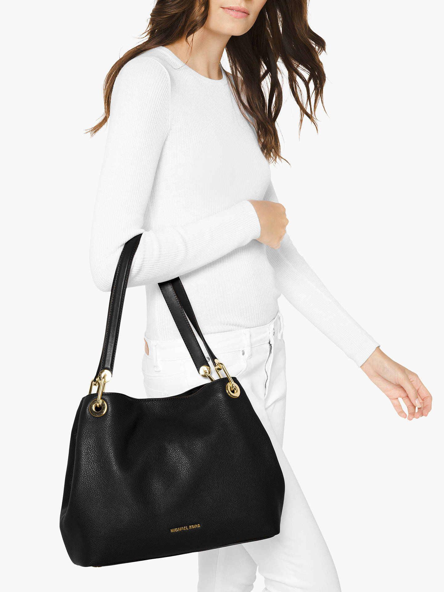 MICHAEL Michael Kors Raven Large Leather Shoulder Bag at John Lewis ... 90a30ddbc1f40