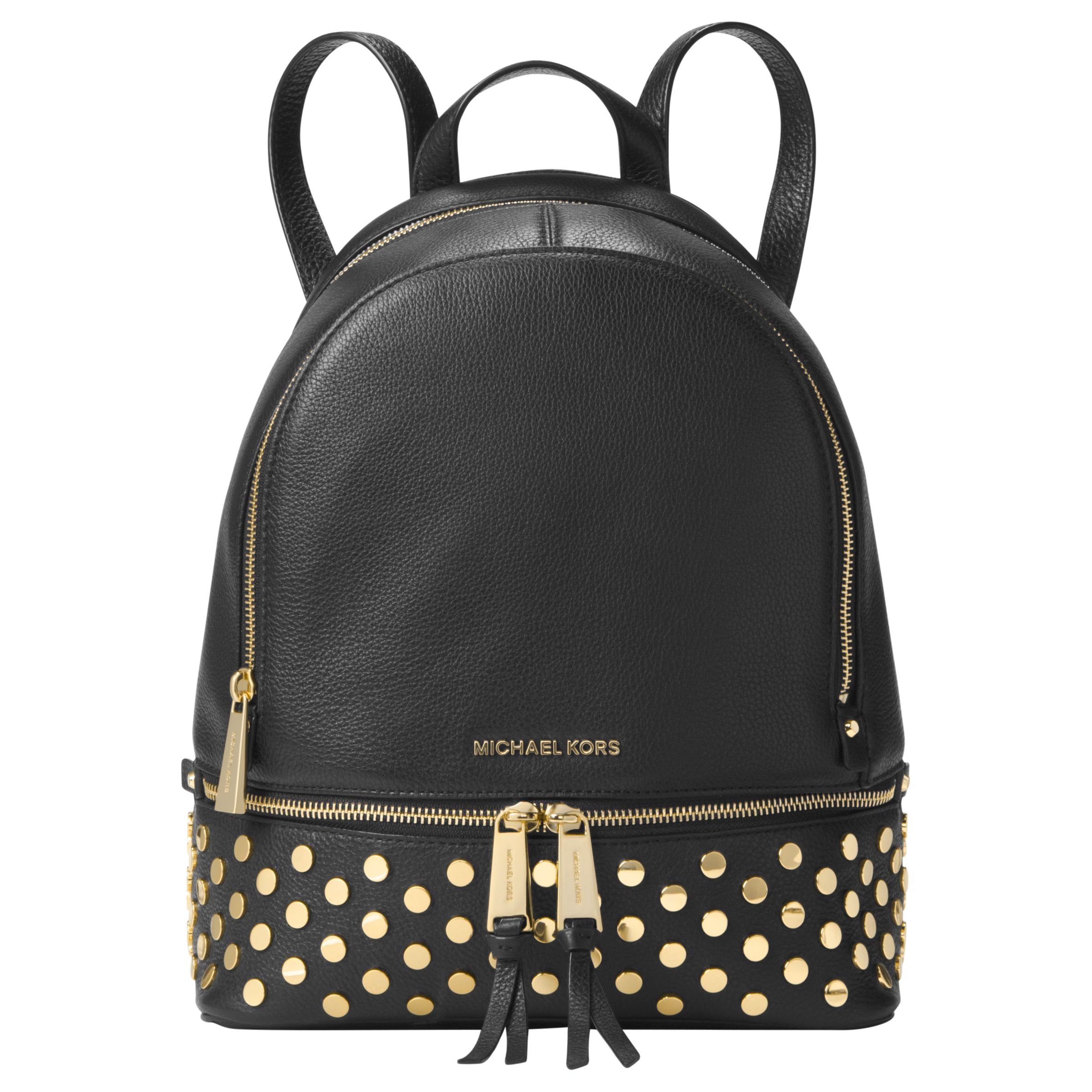 963967583f92 MICHAEL Michael Kors Rhea Leather Lace Medium Backpack, Black at John Lewis  & Partners