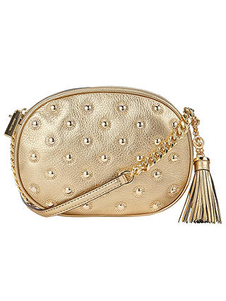 Buy MICHAEL Michael Kors Ginny Stud Medium Across Body Bag, Gold Online at johnlewis.com
