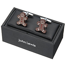 Buy John Lewis Gingerbread Man Cufflinks, Brown/Silver Online at johnlewis.com