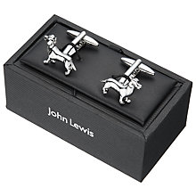 Buy John Lewis Dachshund Cufflinks, Silver Online at johnlewis.com