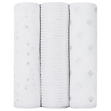Buy Aden + Anais Baby Metallic Star Swaddle Blanket, Pack of 3, Silver Online at johnlewis.com