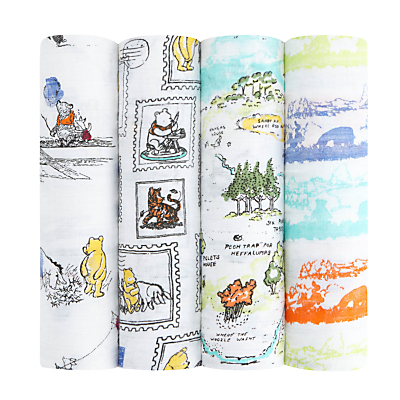 Image of aden + anais Disney Winnie The Pooh Baby Swaddle Blanket, Pack of 4