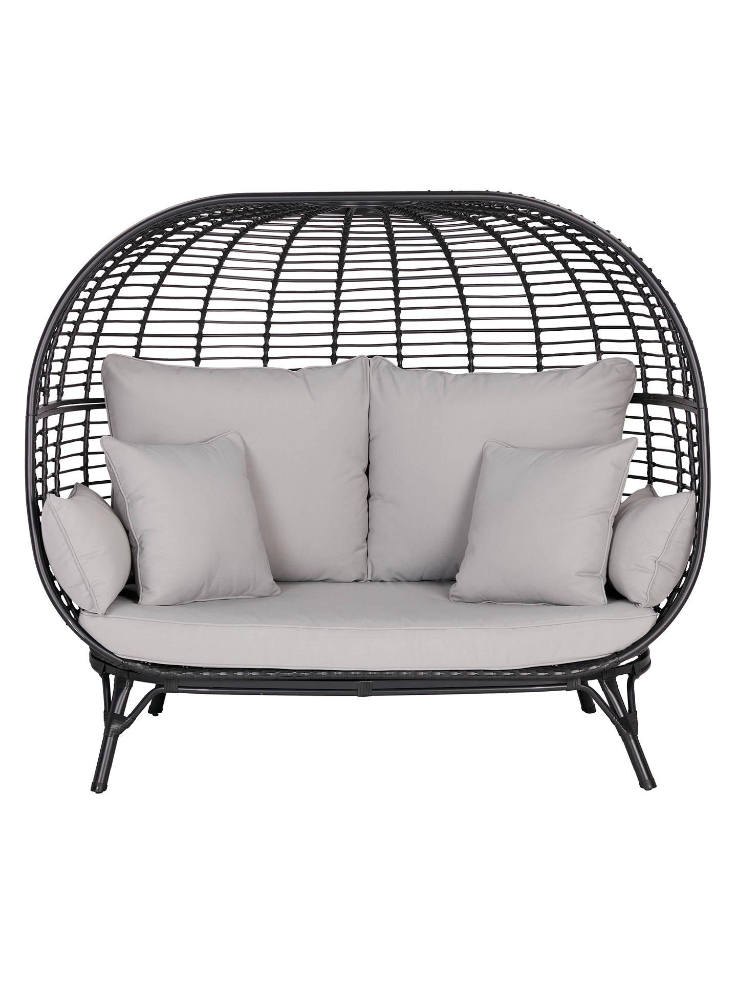 John Lewis & Partners Cabana 7 Seater Garden Sofa Pod, Black at