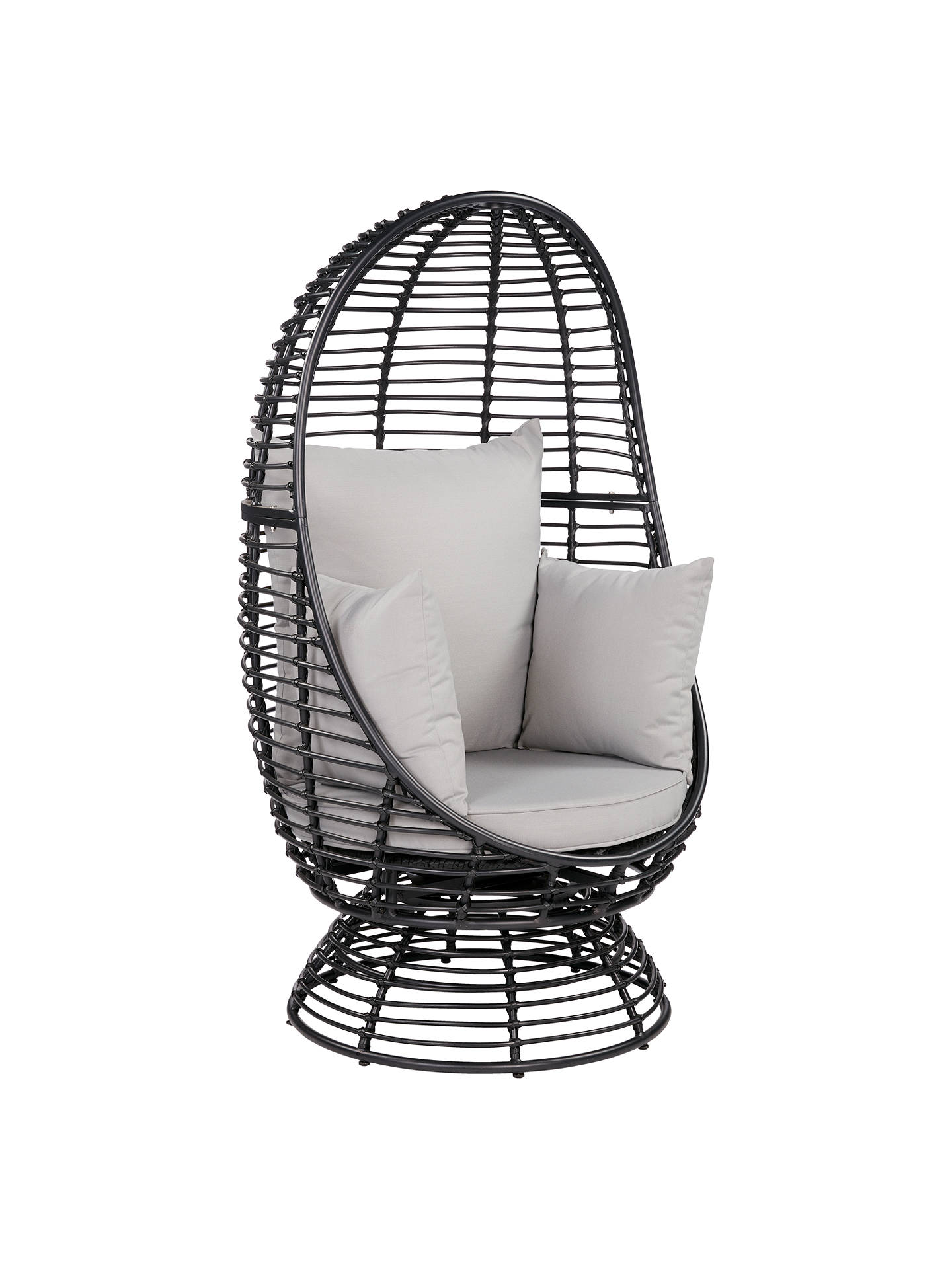 John Lewis & Partners Cabana Swivel Pod Garden Chair, Black