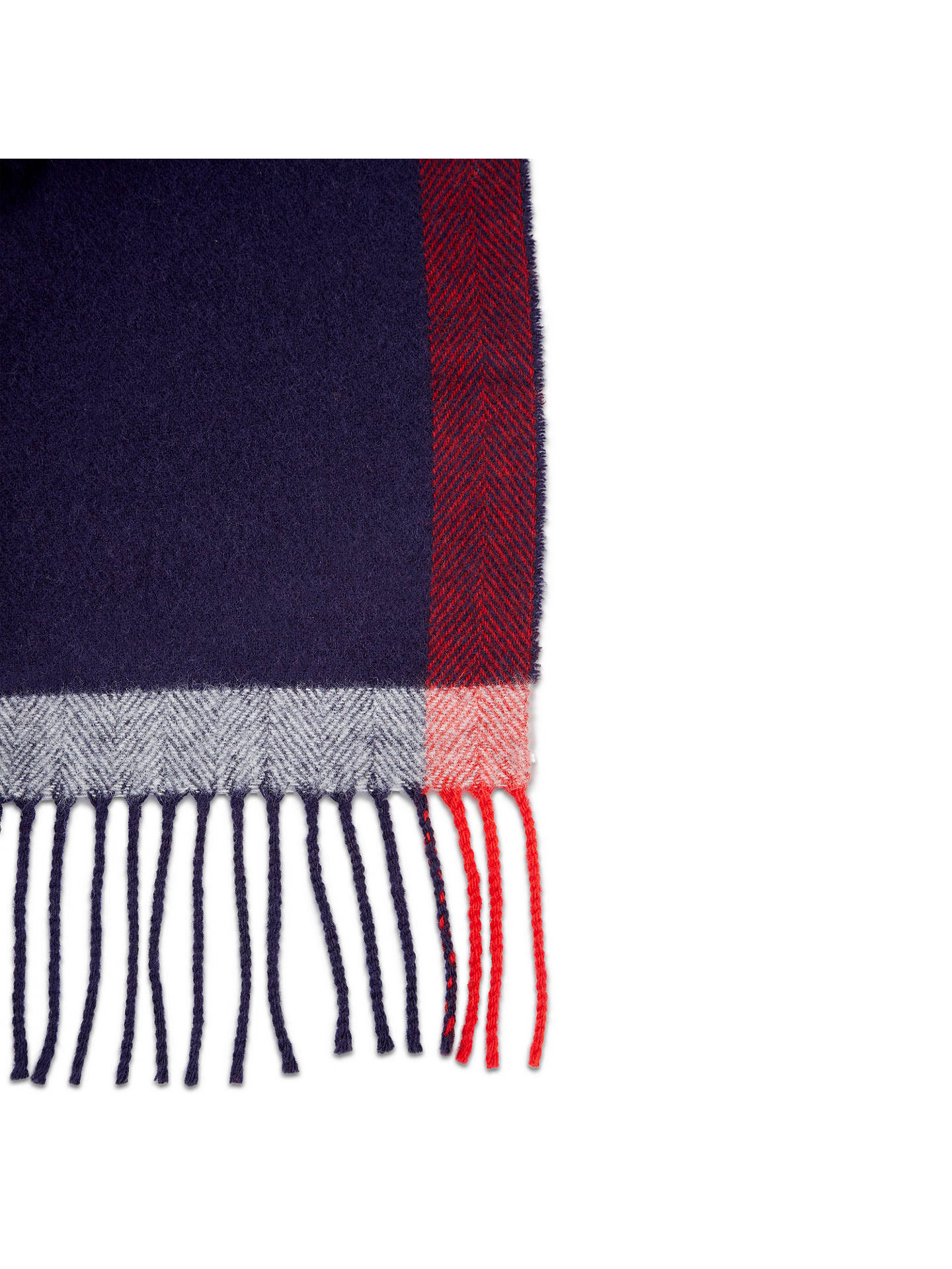 Buy Jaeger Wool Cashmere Border Herringbone Scarf, Navy Online at johnlewis.com