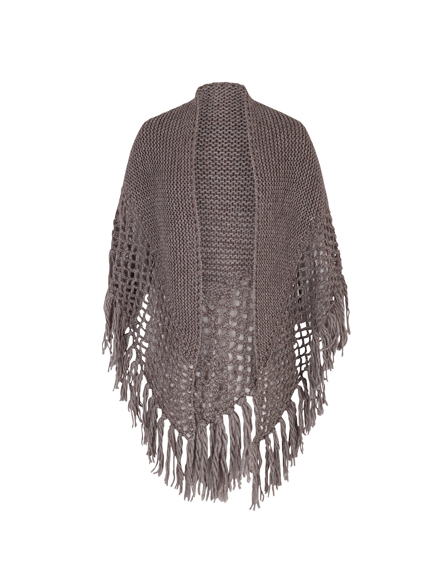 BuyChesca Wool Blend Large Fringed Shawl With Crocheted Panel, Taupe Online at johnlewis.com