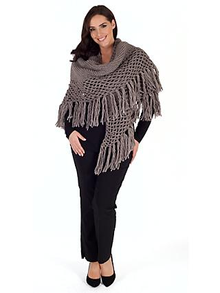 Chesca Wool Blend Large Fringed Shawl With Crocheted Panel