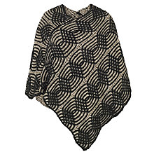 Buy Chesca Cable Knit Poncho, Black/Beige Online at johnlewis.com