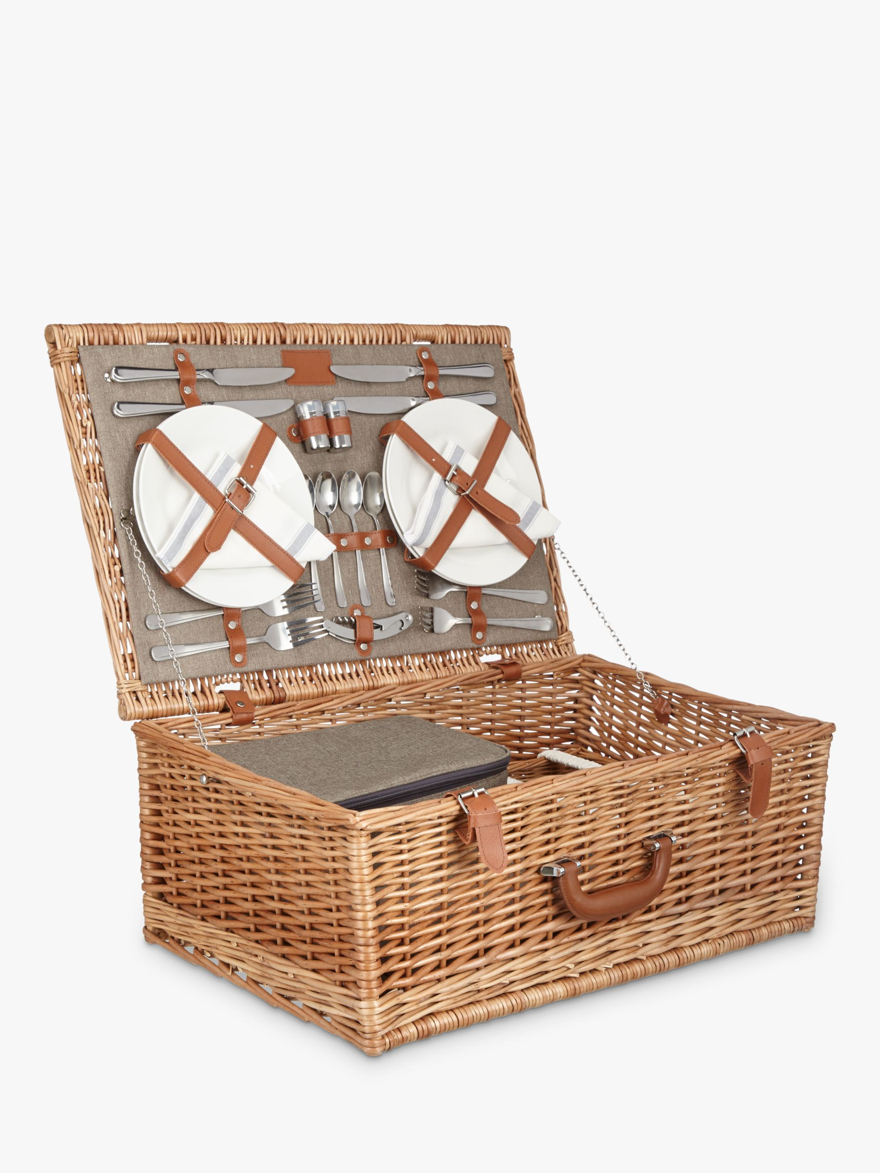 Croft Collection Luxury Filled Wicker Picnic Basket 4 Person At John Lewis Partners