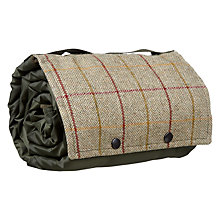 Buy Croft Collection Herringbone Tweed & Fleece Picnic Rug, Olive Online at johnlewis.com