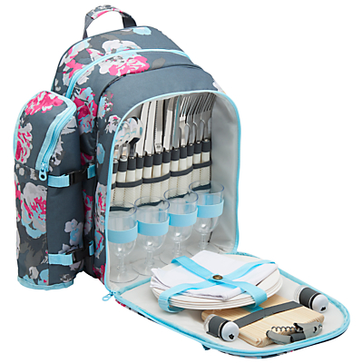 Joules Grey Floral Filled Rucksack Picnic Hamper and Cooler Bag, 4 Person