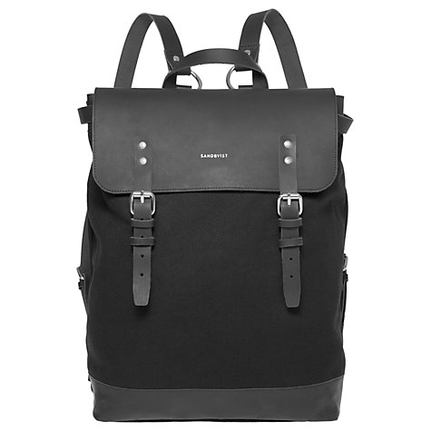 Buy Sandqvist Hege Grand Canvas Backpack, Black Online at johnlewis.com
