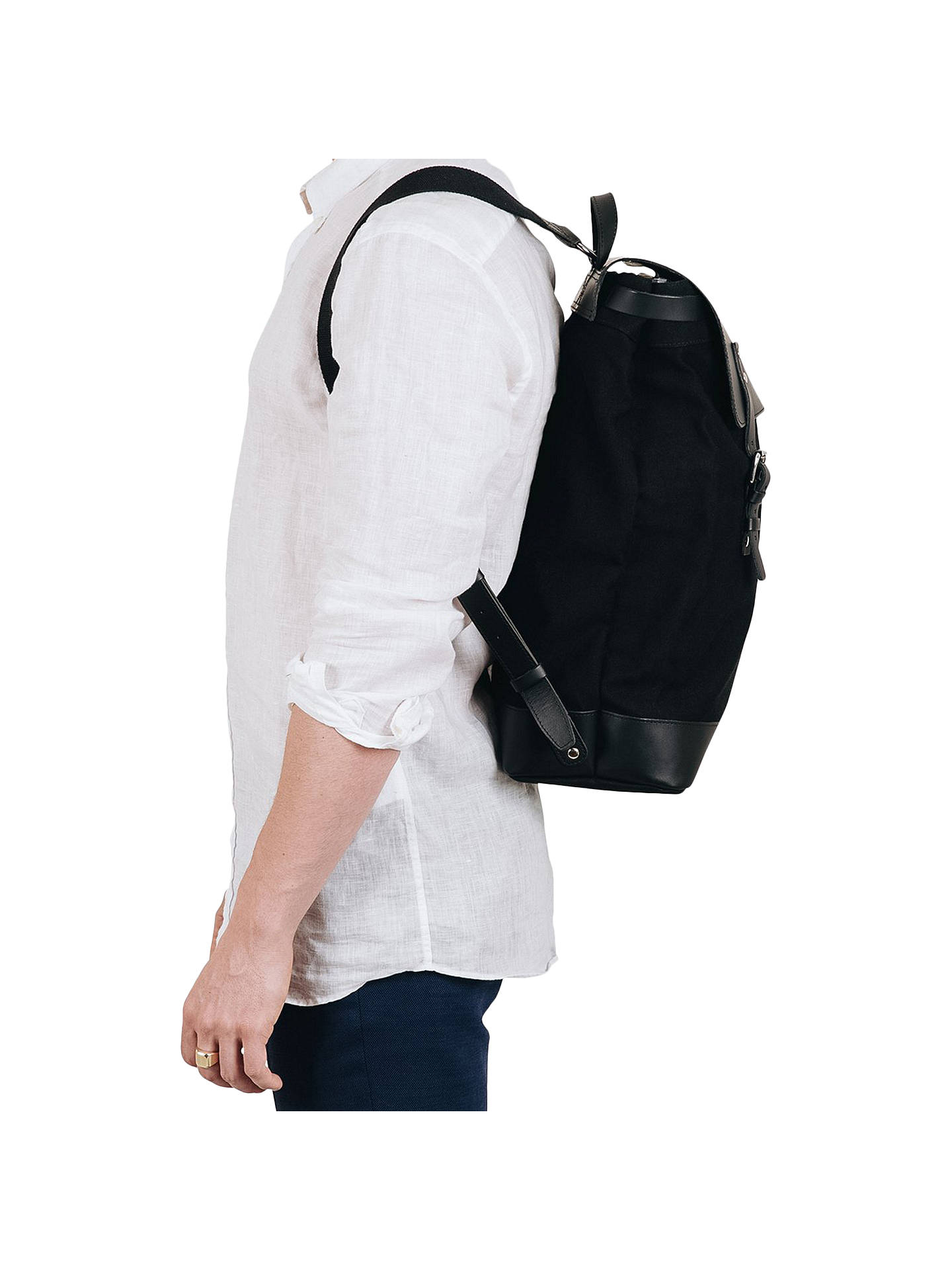BuySandqvist Hege Grand Canvas Backpack, Black Online at johnlewis.com