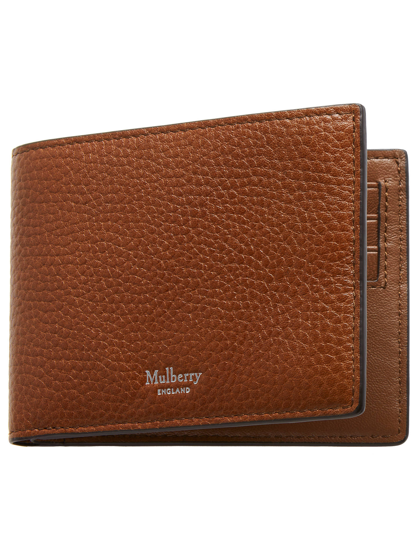 BuyMulberry Eight Card Natural Grain Leather Wallet, Oak/Silver Online at johnlewis.com