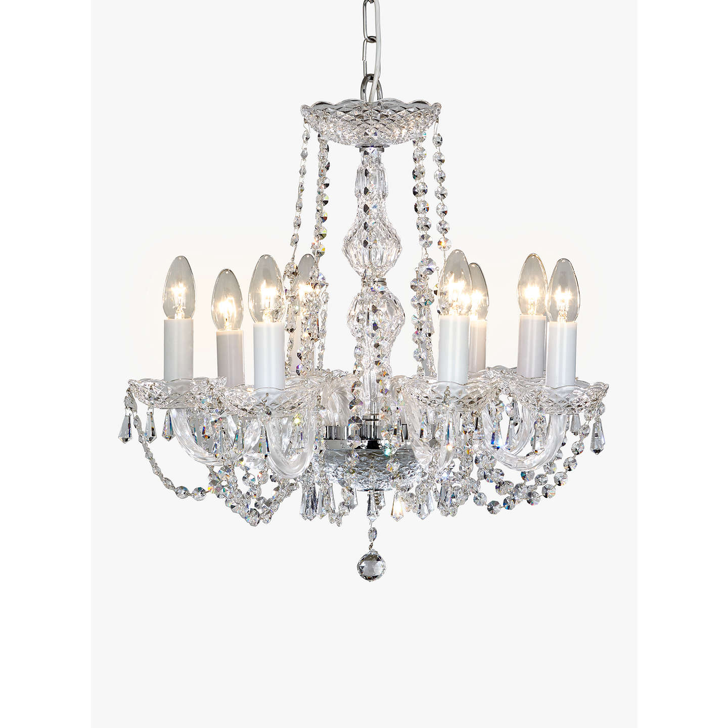 Impex modra chandelier ceiling light 8 light crystal clear at john buyimpex modra chandelier ceiling light 8 light crystal clear online at johnlewis mozeypictures Choice Image