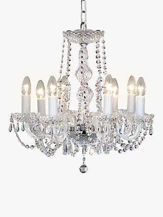 Impex Modra Chandelier Ceiling Light, 8 Light, Crystal Clear