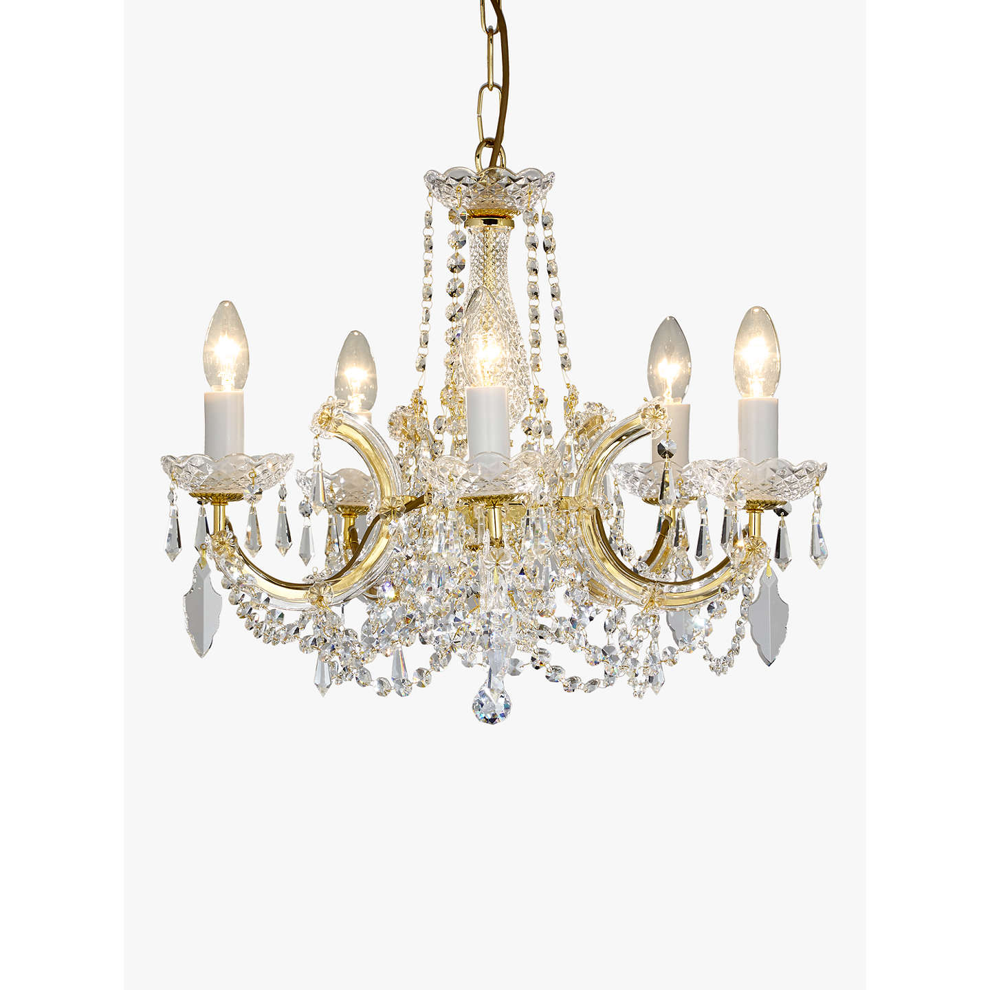 Impex marie theresa chandelier 5 arm cleargold at john lewis buyimpex marie theresa chandelier 5 arm cleargold online at johnlewis aloadofball Image collections
