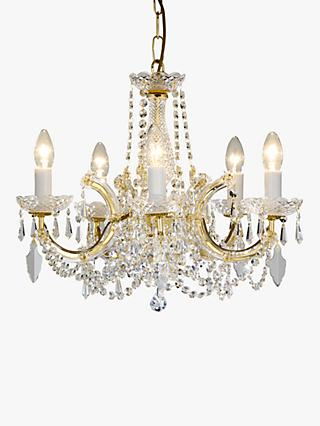 Impex Marie Theresa Chandelier, 5 Arm, Clear/Gold