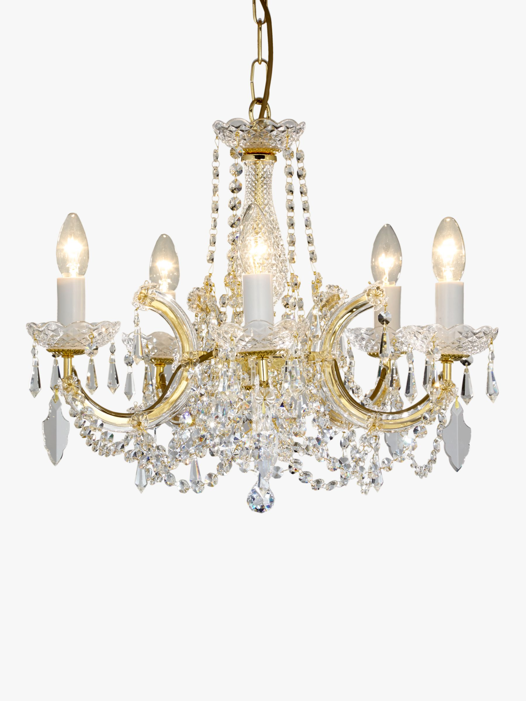 Impex Impex Marie Theresa Chandelier, 5 Arm, Clear/Gold