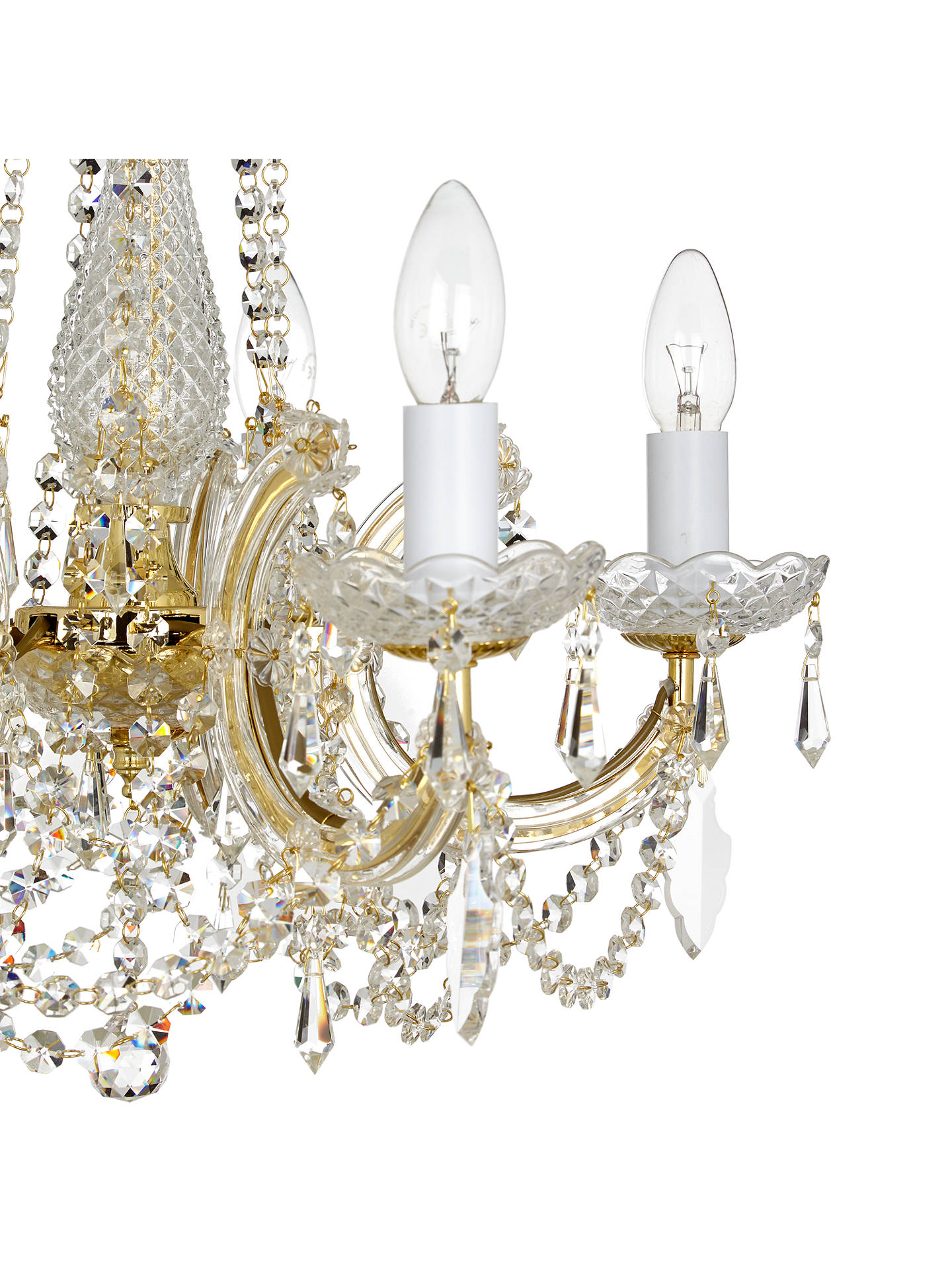 Buy Impex Marie Theresa Chandelier, 5 Arm, Clear/Gold Online at johnlewis.com