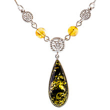 Buy Be-Jewelled Sterling Silver Pear Shape Amber Pendant Necklace, Silver/Green Online at johnlewis.com