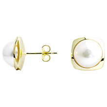 Buy A B Davis 9ct Yellow Gold Square Pearl Stud Earrings, White Online at johnlewis.com