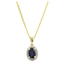 Buy A B Davis 9ct Gold Diamond Surround Oval Pendant Necklace, Sapphire Online at johnlewis.com