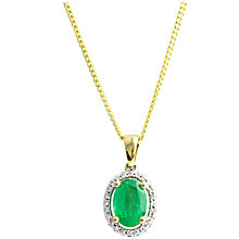Buy A B Davis 9ct Gold Emerald and Diamond Oval Pendant Necklace Online at johnlewis.com