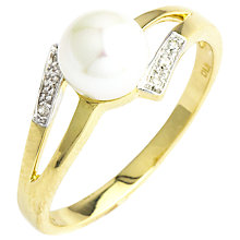 Buy A B Davis 9ct Gold Double Open Diamond and Pearl Ring, Gold/White Online at johnlewis.com