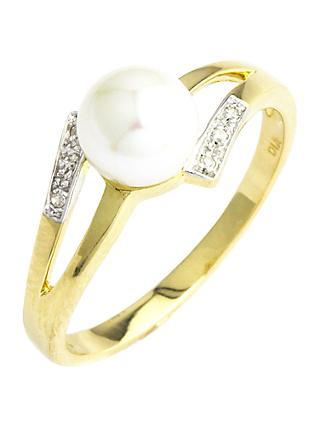A B Davis 9ct Gold Double Open Diamond and Pearl Ring, Gold/White