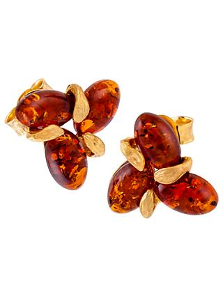 Be-Jewelled Sterling Silver Amber Flower Stud Earrings, Silver/Cognac