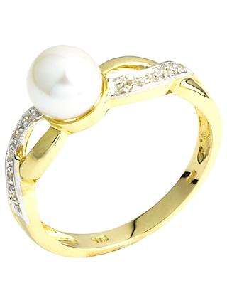 A B Davis 9ct Gold Double Twist Diamond and Pearl Ring, Gold/White