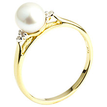 Buy A B Davis 9ct Gold Pearl and Diamond Ring, Gold/White Online at johnlewis.com