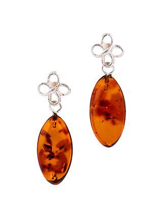 bafaeffa6 Be-Jewelled Sterling Silver Bow Amber Drop Earrings, Cognac