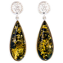 Buy Be-Jewelled Sterling Silver Pear Shape Amber Drop Earrings, Silver/Green Online at johnlewis.com