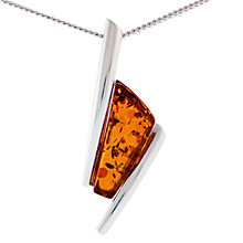 Buy Be-Jewelled Sterling Silver Art Deco Amber Pendant, Silver/Cognac Online at johnlewis.com