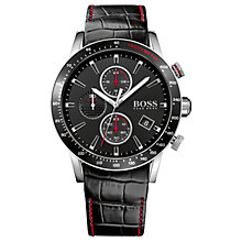 Buy HUGO BOSS Men's Rafale Chronograph Date Leather Strap Watch Online at johnlewis.com