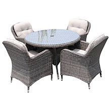 Buy LG Outdoor Marseille 4 Seater Round Dining Set, Brown Online at johnlewis.com